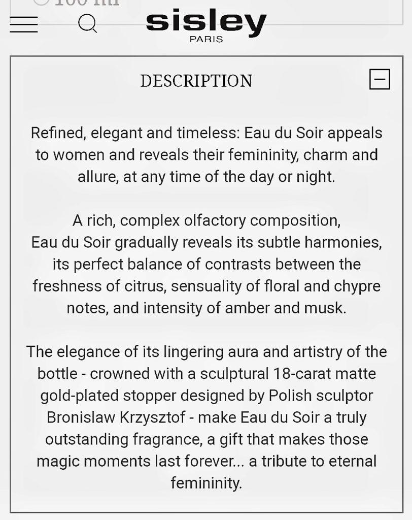 Sisley: Eau du Soir (2014.) Screenshot 20190425 152726 01