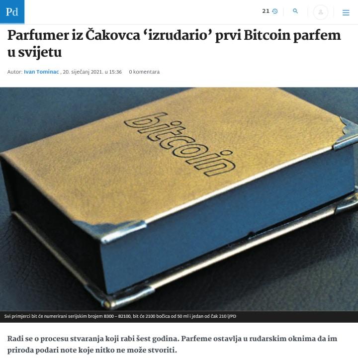 Bitcoin parfem - Dejan Levačić / Levy Perfumes