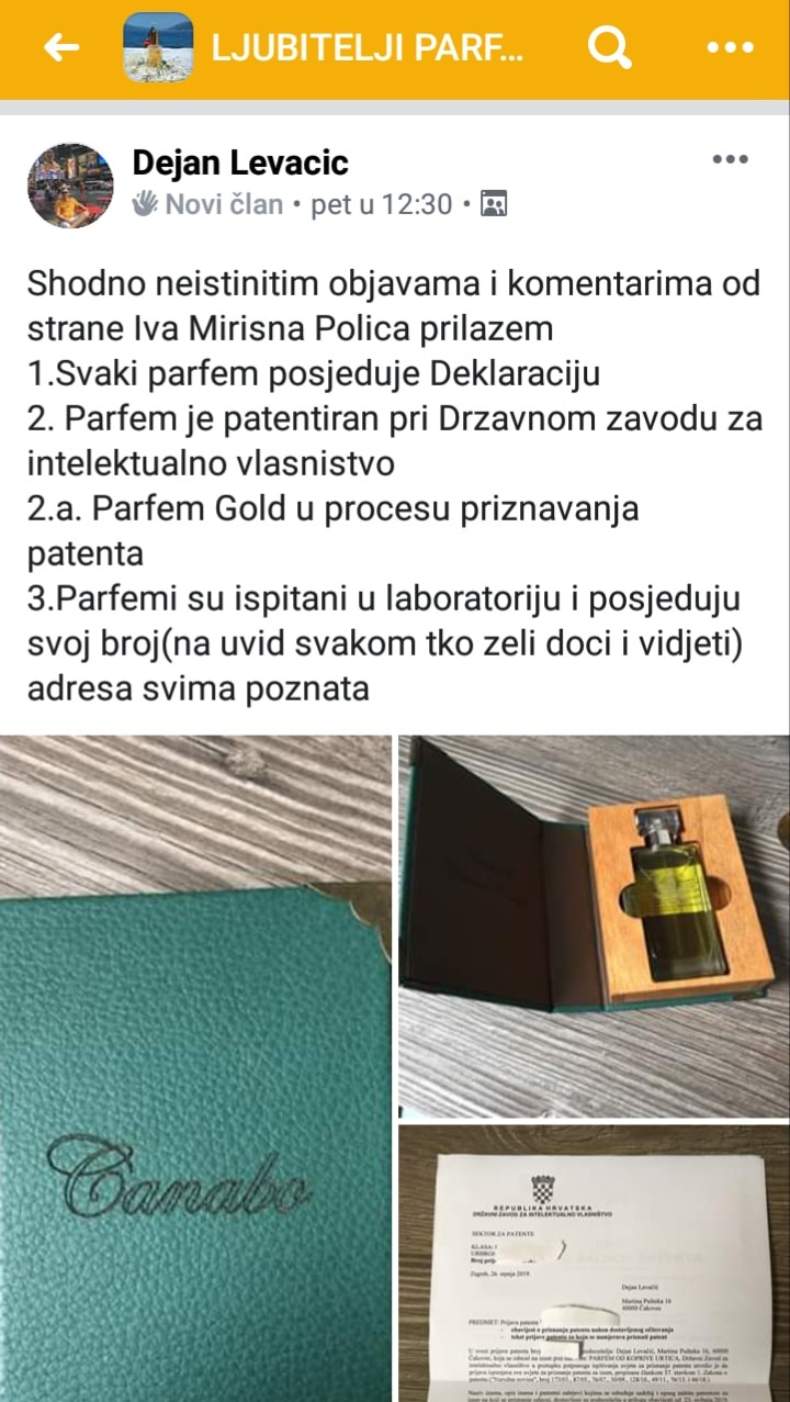 Dejan Levačić Levy Perfumes - lažna deklaracija